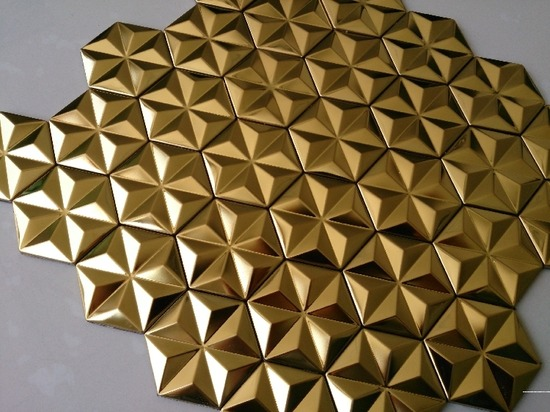 hexagon mosaic tile gold_2