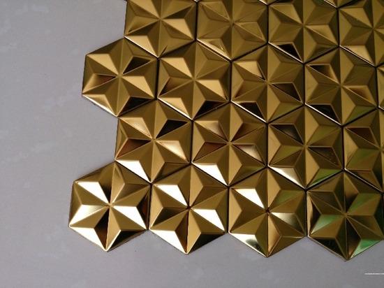 hexagon mosaic tile gold_3