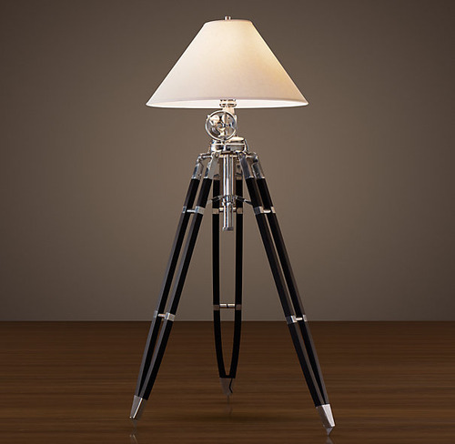 Royal Marine Tripod Floor Lamp_Polished Aluminum and Black_1