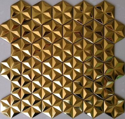 hexagon mosaic tile gold_1
