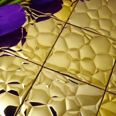 bubble mosaic tile_gold