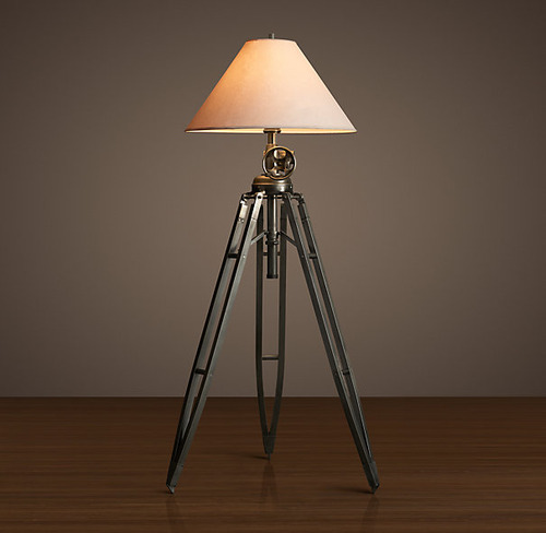 Royal Marine Tripod Floor Lamp_Aged Steel