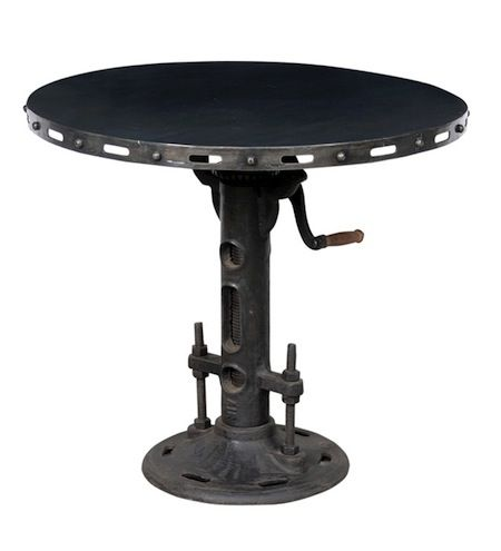 Industrial cast iron pedestal table with steel top