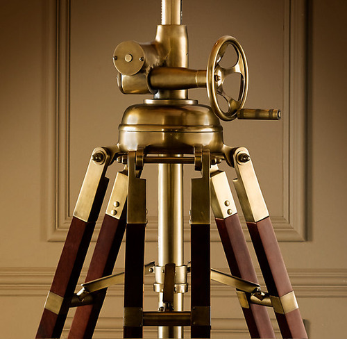 Royal Marine Tripod Floor Lamp_Antique Brass and Brown_2