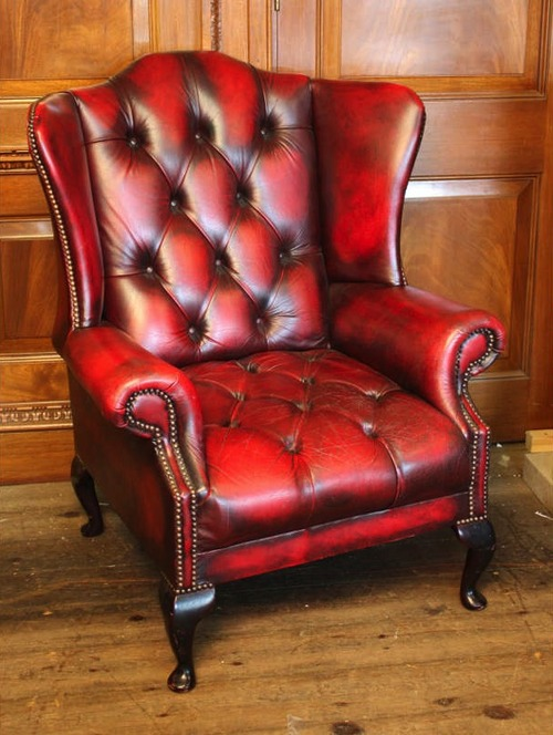 Oxblood leather wing chair