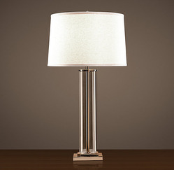 French Column Glass Table Lamp_Polished Nickel_H788mm