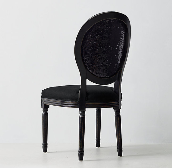 Vintage French Sequin Desk Chair_Belgian Linen Black_1