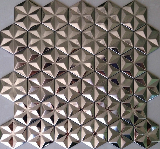 hexagon mosaic tile silver_1