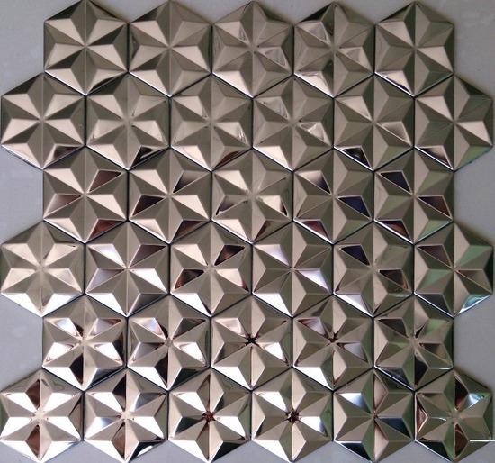 hexagon mosaic tile silver_1