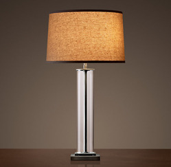 French Column Glass Table Lamp_Aged Steel_H788mm