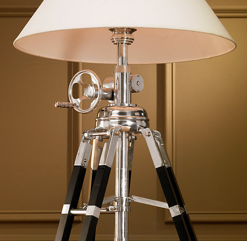 Royal Marine Tripod Floor Lamp_Polished Aluminum and Black_2