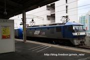 2019.10.26-001系E甲種,静岡駅ホーム看板と絡めて