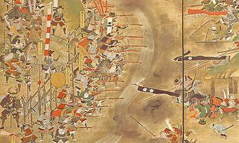 江戸時代に描かれた絵巻『長篠合戦図屏風』ってあるじゃん?これのやや右下当たりにスゲー軽装備な奴がいるんだけど