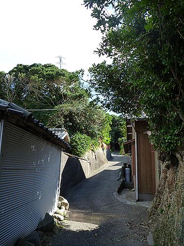 麦埼灯台への道