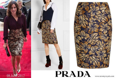 Crown-Princess-Mary-wore-Prada-Metallic-floral-jacquard-skirt