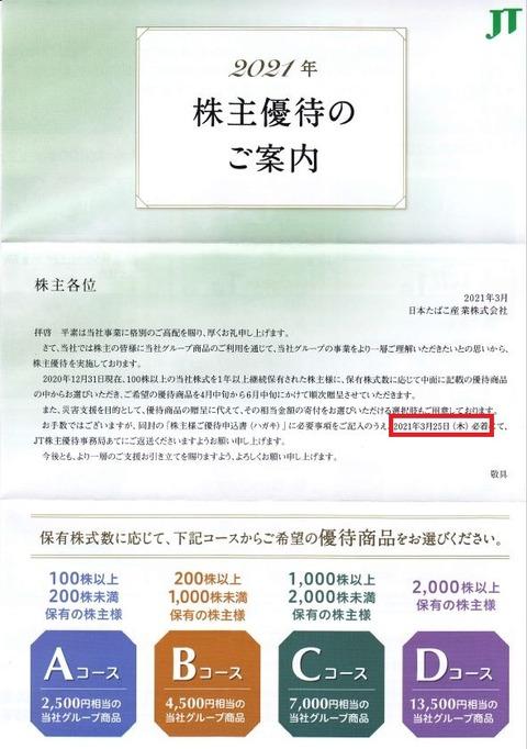 【2021年株主優待】日本たばこ産業 JT(2914)の株主優待が届きました!【3/25締め切り】