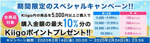 【Kiigo】全商品対象 驚異の最大10%ポイント還元キャンペーン実施中!(2/24まで)