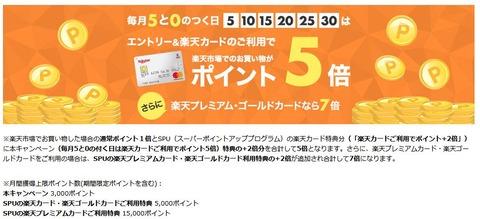 【楽天市場】6/15(土)限定!楽天ポイント合計3~5倍キャンペーン