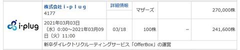 【3月IPO結果】超A級案件!i-plug[アイ プラグ](4177)抽選結果発表!