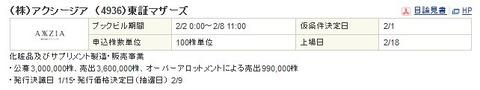 【2月IPO結果】アクシージア(4936)抽選申込始まります。
