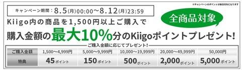 【Kiigo】全商品対象 驚異の最大10%ポイント還元キャンペーン実施中!(8/12まで)
