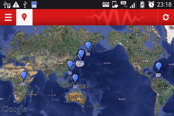 ここ2日間でM4.0以上の地震が起きた場所