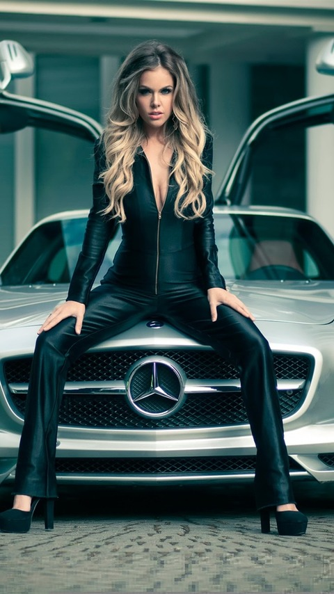 Mercedes-SLS-car-and-girl_iphone_750x1334