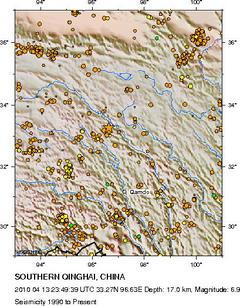 チベット高原地震マップ