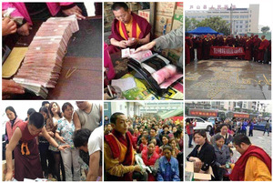 Tibetan-monks-donating-money-and-goods-to-support-victims