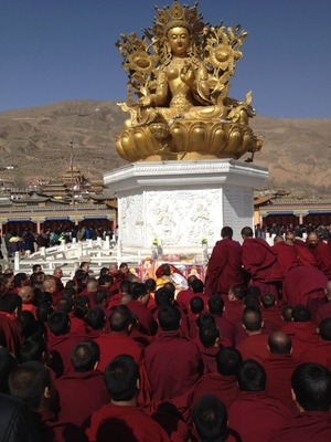 Monks and people praying _17 March 2012