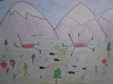 チベット難民子供の絵<故郷>
