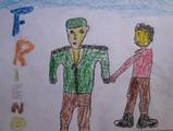 チベット難民子供の絵。人民服の中国人とチベットの子供が手を繋いでいる。「FRIEND」