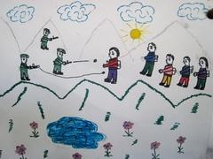 ダラムサラ難民一時収容所・子供の絵4