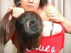 素人女性の髪の分け目1