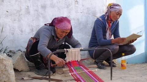 編み物の実演
