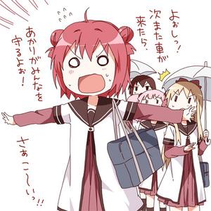 赤座 あかり、歳納 京子、船見 結衣、吉川 ちなつ3