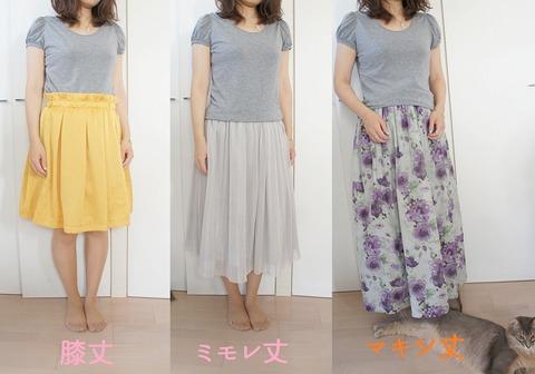スカート丈比較画像