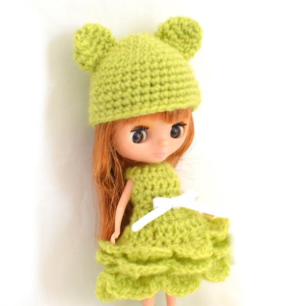 プチブライスサイズ 編みドレスセット
