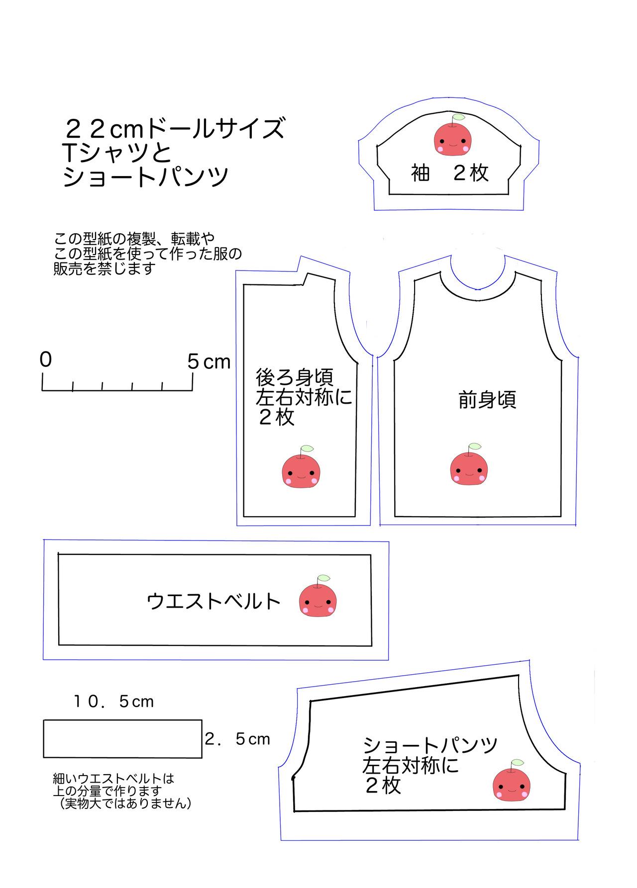 22cmTシャツとショートパンツ