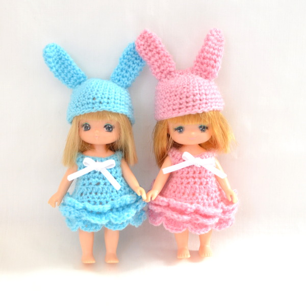 ミキちゃんマキちゃん編みドレスブルーピンク