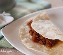 レンズ豆とひき肉カレー 米粉トルティーヤ