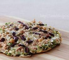米粉で作る簡単ピザ生地 ツナとビーンズの葱ピザ
