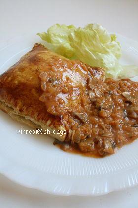 ミートパイ 野菜マッシュルームソース