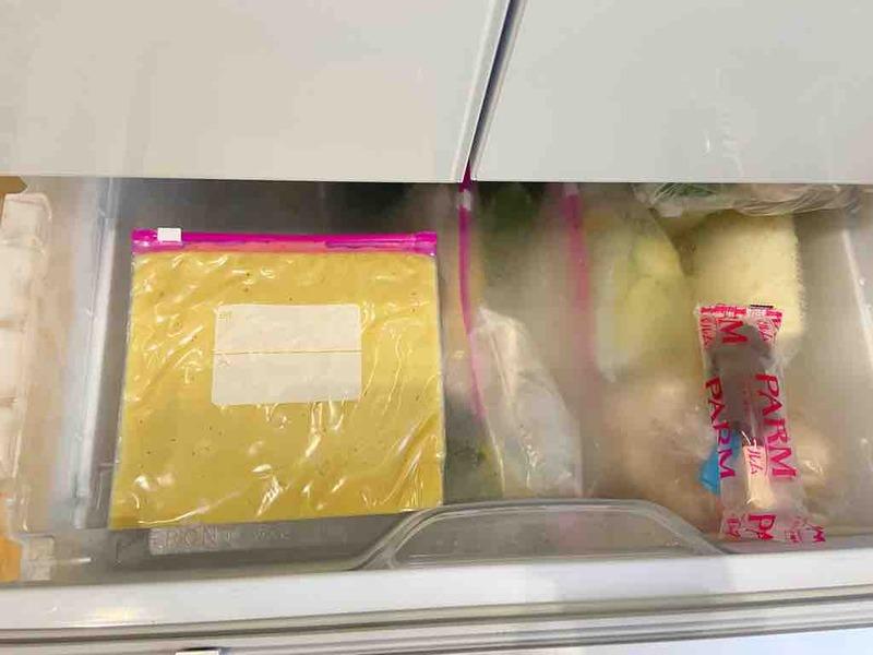 冷凍庫でおろし生姜を凍らせる