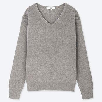 コットンカシミアVネックセーター
