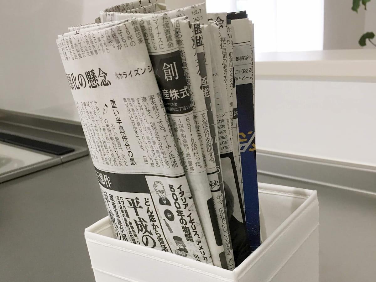キッチンに置いてある新聞紙