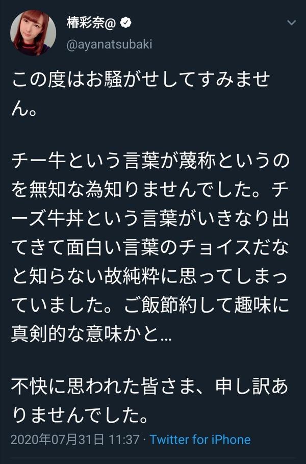 【悲報】椿姫彩菜さん、チー牛に謝罪するのサムネイル画像