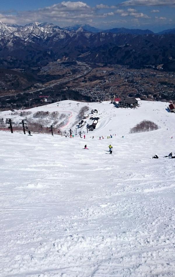 八方尾根スキー場のうさぎ平ゲレンデを見おろす