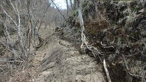 足元の狭い岩場