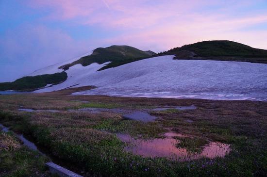 白馬大池のテント場からの夕景